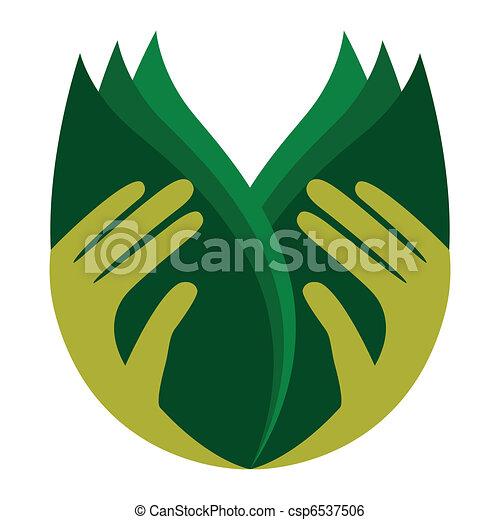 preoccupare, leaves., tenere mani - csp6537506