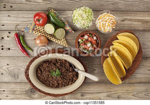 preparación, carne picada, tacos - csp11351585