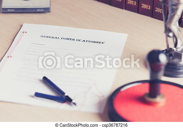 Prepared to be signed by a notary power of attorney - csp36787216