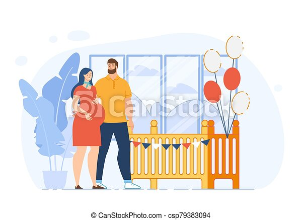Preparing for Childbirth Flat Vector Concept - csp79383094