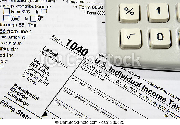 Preparing Your Tax Return Close Up Of A Federal Tax Return Stock