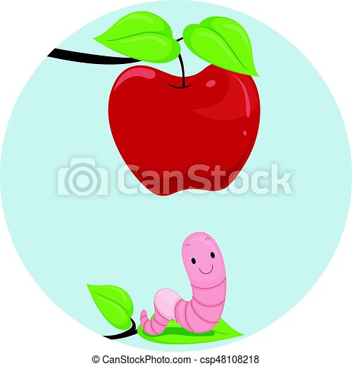 Preposition apple worm below. Illustration featuring an ...