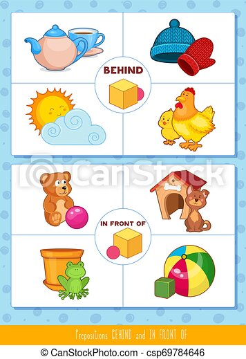 Prepositions behind and in front of - csp69784646