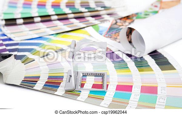 prepress, linse, begriff, design, pantone. - csp19962044
