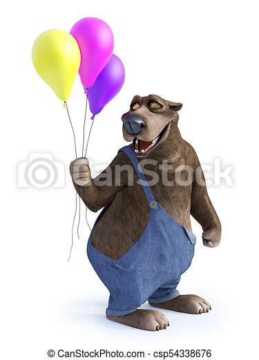 Presa a terra balloons. tre orso cartone animato. suo