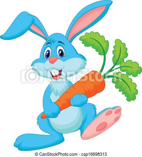 presa a terra, coniglio, felice, carota, cartone animato - csp16698313