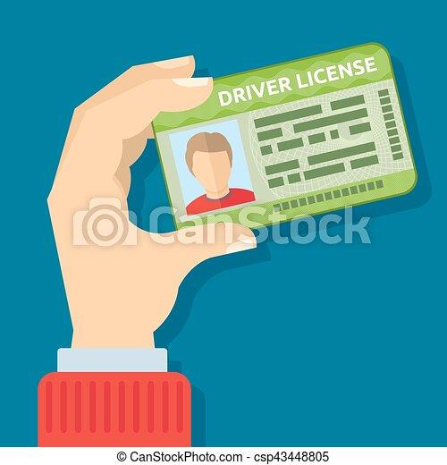 presa a terra, guida, scheda, automobile, illustrazione, mano, vettore, licenza, id - csp43448805
