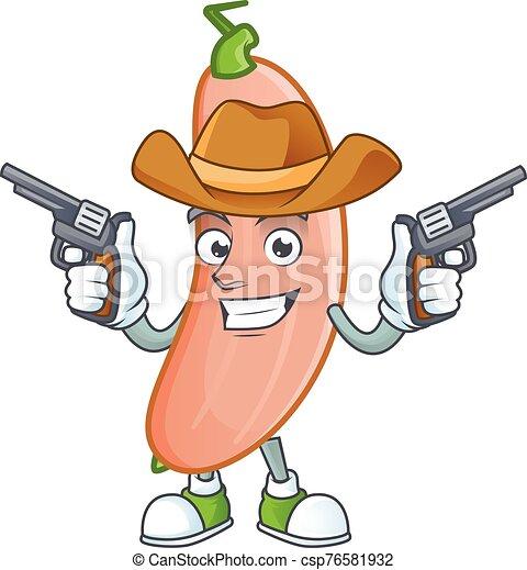 presa a terra, pistole, icona, sorridente, mascotte, banana, cowboy, schiacciare - csp76581932
