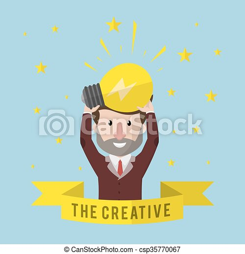 presa a terra, uomo affari, creativo, idea - csp35770067