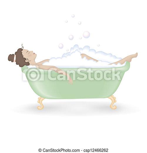 presa, donna, schiuma, bagno - csp12466262