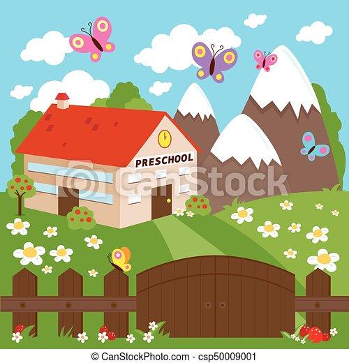 Preschool Building Meadow And Wooden Fence