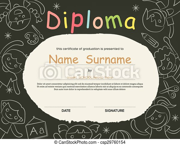 Preschool elementary school kids diploma certificate background preschool elementary school kids diploma certificate background csp29760154 yadclub Image collections