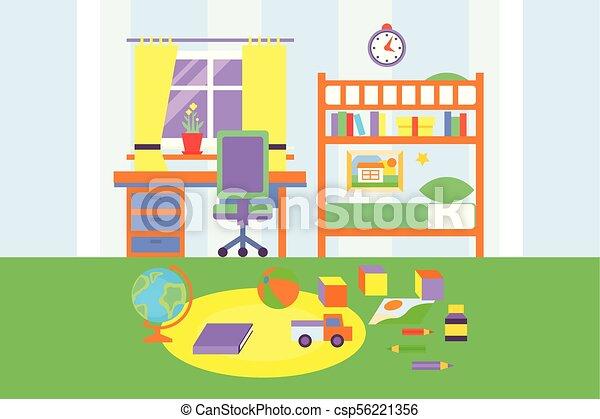 Preschool Or School Student Boy Room Interior Bedroom With Toys Bed Bookshelf