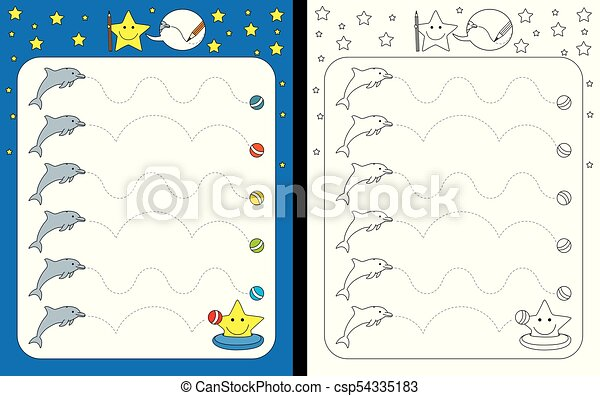 Preschool Worksheet For Practicing Fine Motor Skills - Tracing Dashed Lines  From Dolphins To Balls. CanStock