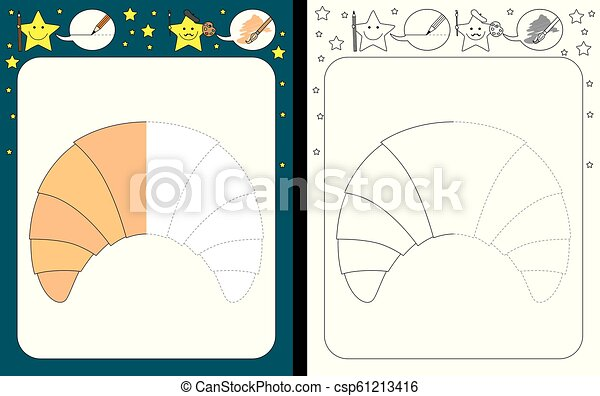 Preschool Worksheet For Practicing Fine Motor Skills - Tracing Dashed Lines  - Finish The Illustration Of A Croissant. CanStock