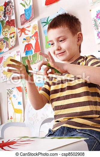 preschooler, painting., enfant - csp8502908