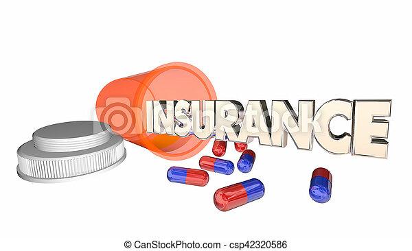 prescrição, cobertura, ilustração, garrafa, medicina, seguro, 3d - csp42320586