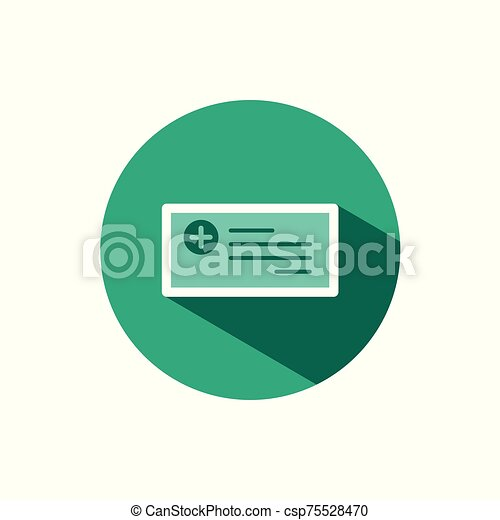 Prescription icon with shadow on a green circle. Vector pharmacy illustration - csp75528470