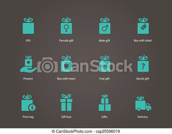 Present box icons. - csp25596019