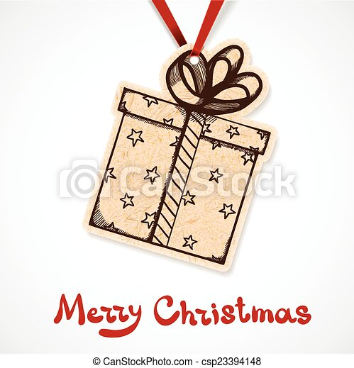 present box paper label on ribbon csp23394148