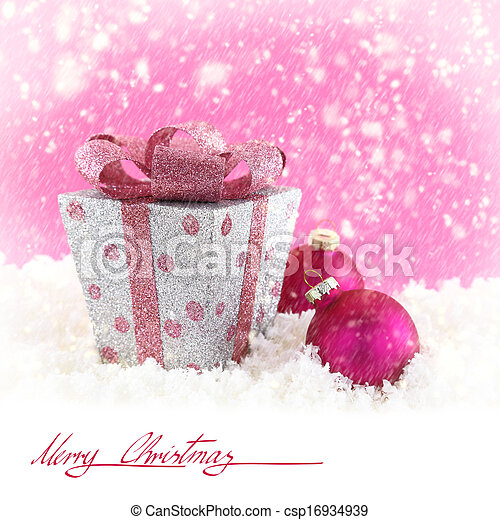 Present box with Christmas balls and snow - csp16934939