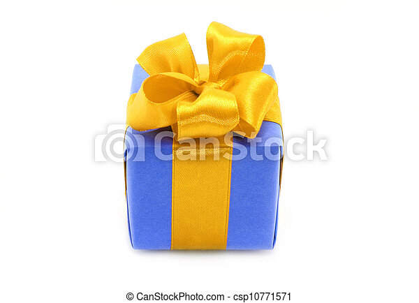 Present box with gold bow on a white background - csp10771571