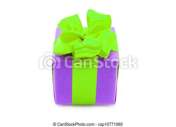 Present box with green bow on a white background - csp10771060