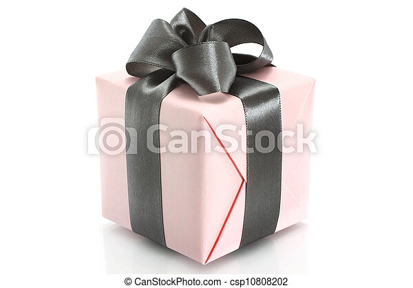 Present box with grey bow on a white background - csp10808202