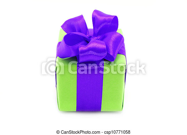 Present box with purple bow on a white background - csp10771058