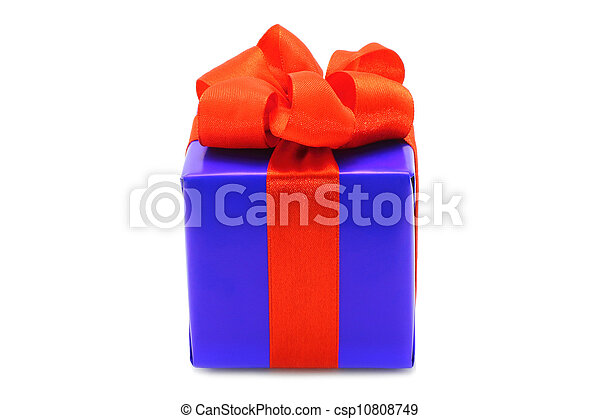 Present box with red bow on a white background - csp10808749