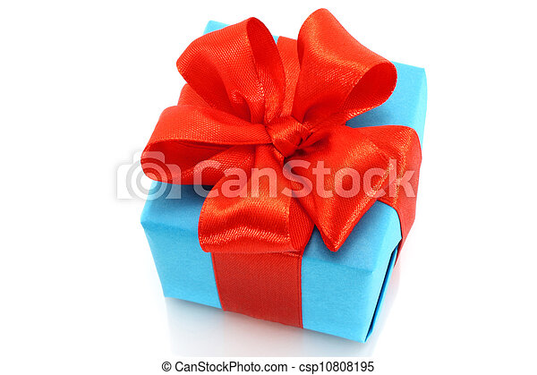 Present box with red bow on a white background - csp10808195