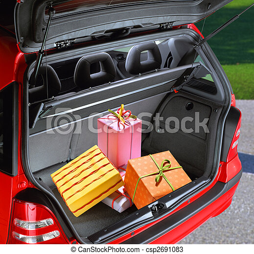 present boxes in a car - csp2691083