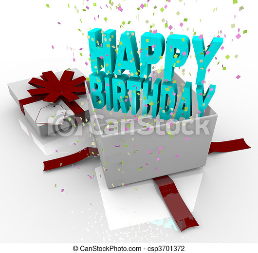 Present happy birthday gift box a white gift box springs open to present happy birthday gift box csp3701372 negle Image collections