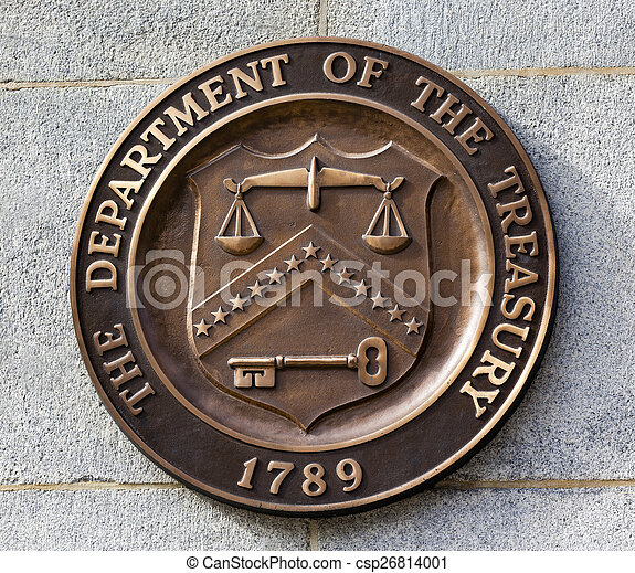 Present Seal Sign Symbol US Treasury Department Washington DC - csp26814001