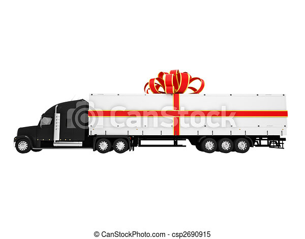 Present truck isolated side view - csp2690915