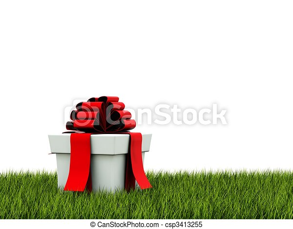 Present with red ribbon on green grass - csp3413255