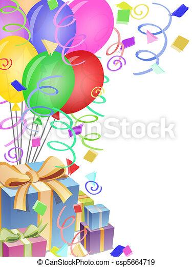 presenta, coriandoli, compleanno, palloni, festa - csp5664719