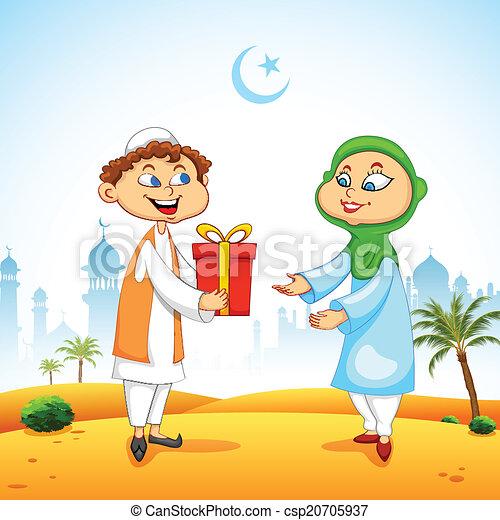 Gente presentando regalos para celebrar el Eid - csp20705937