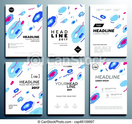 presentation booklet covers vector template pages set
