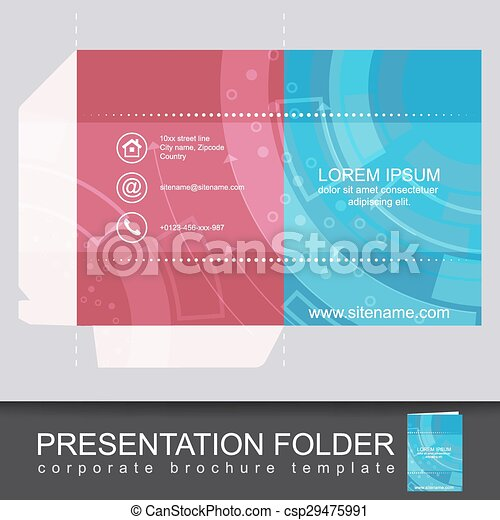 Presentation Corporate Folder Template With Die Cut Design Vector