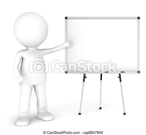 presentation 3d little human character with a blank whiteboard and