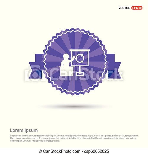 Presentation Icon - Purple Ribbon banner - csp62052825