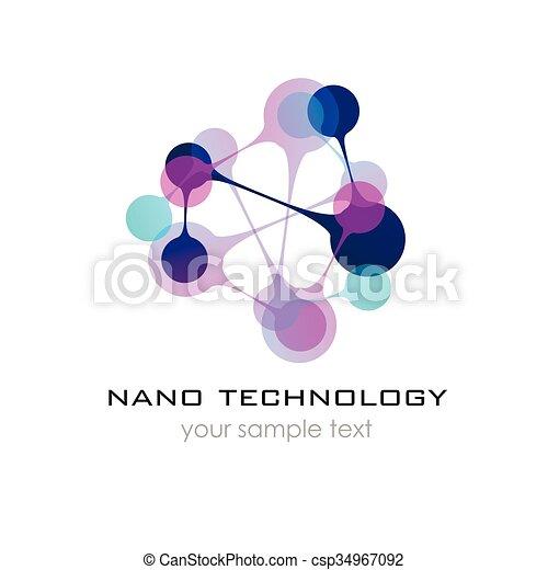 presentation., nano, -, vettore, disegno, sagoma, logotipo, logo., nanotechnology. - csp34967092