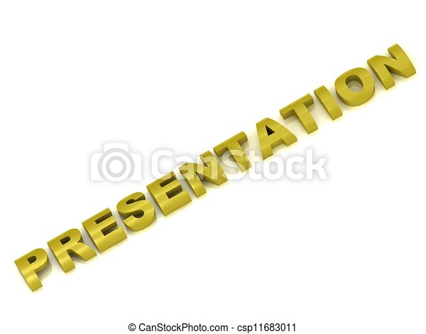 Presentation of an inscription in gold letters  - csp11683011