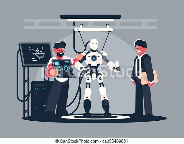 Presentation Of Modern Robot Robotics Engineer Shows New