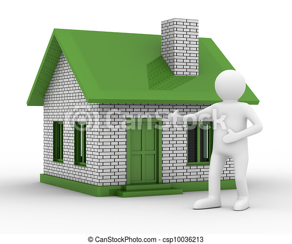 Presentation of new house. Isolated 3D image - csp10036213