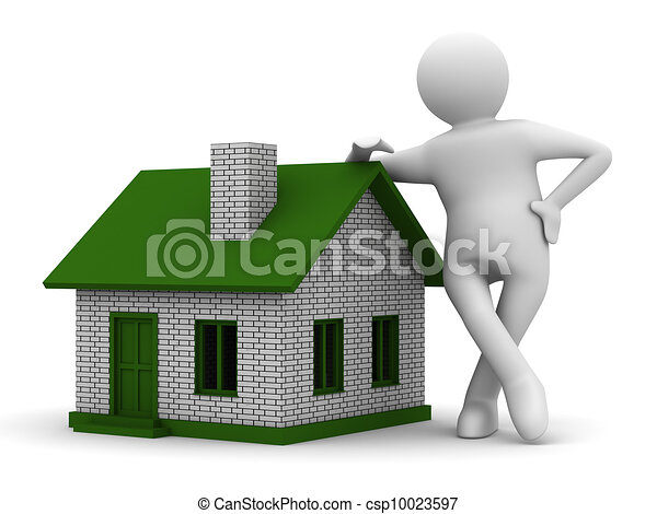 Presentation of new house. Isolated 3D image - csp10023597