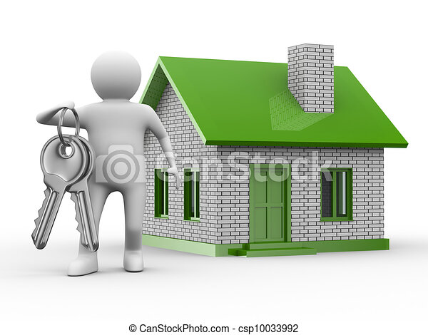 Presentation of new house. Isolated 3D image - csp10033992