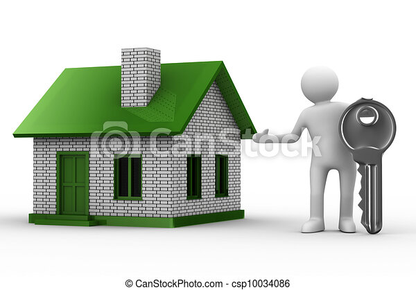 Presentation of new house. Isolated 3D image - csp10034086
