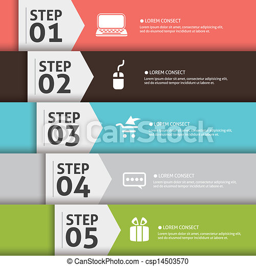 Presentation slide template editable at your choosing with your words EPS10. Numbered background 1, 2, 3, 4 , 5 , one two three four five. Business Concept with icon - csp14503570